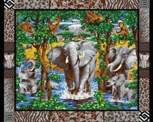 Elephants, Elephant Social Wall Hanging Panel, Safari Fabric ...