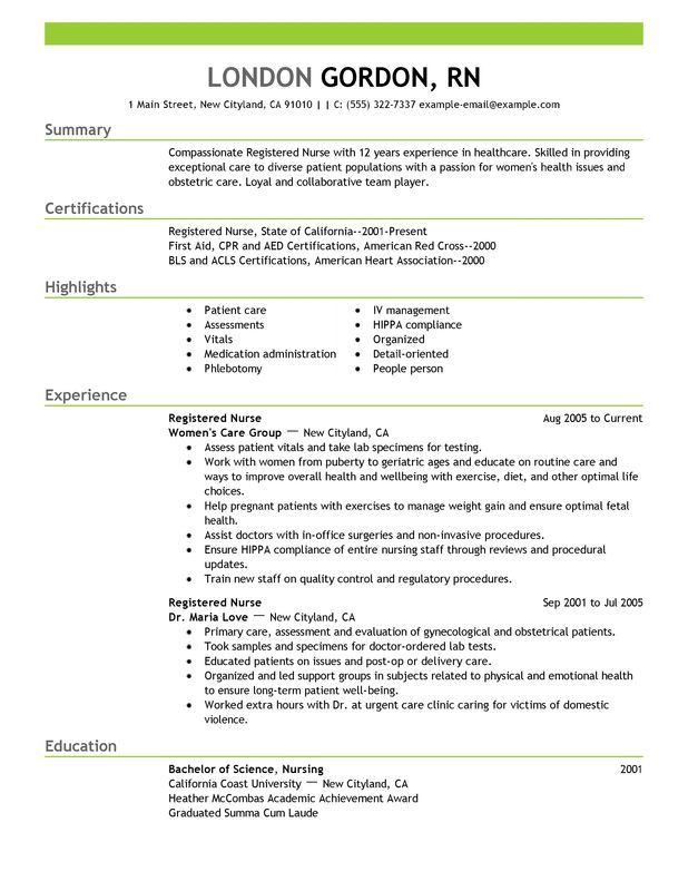 Registered Nurse Resume Sample work Pinterest Nursing resume - example of nursing resumes
