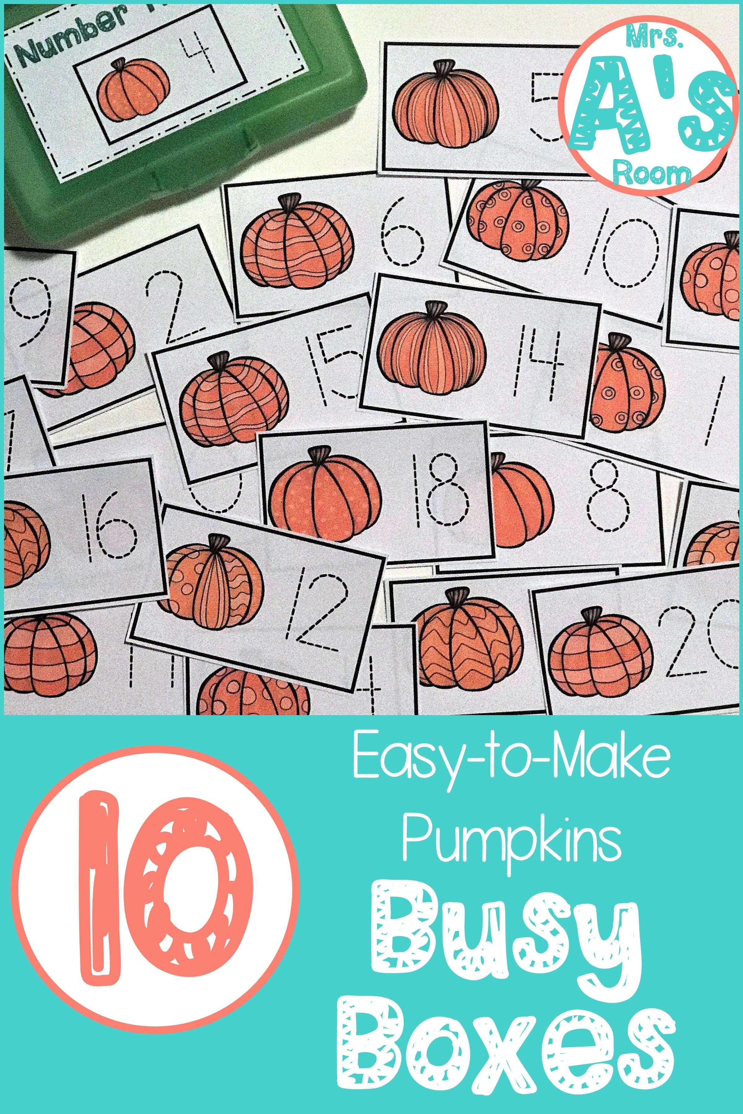 Ten Easy-to-Make Pumpkins Busy Boxes in 2018 | Fall Day care ideas ...