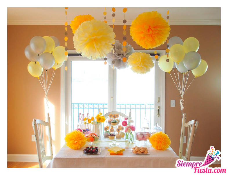 Hermosas ideas para una fiesta de color amarillo ideal for Decoracion fiesta cumpleanos adultos