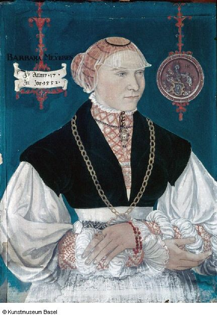 1552 Hans Hug Kluber (Basel 1535 / 1536-1578) Portrait of Barbara Meyer to the arrow, the wife of Hans Rispach.   Counterpart to Inv. 389