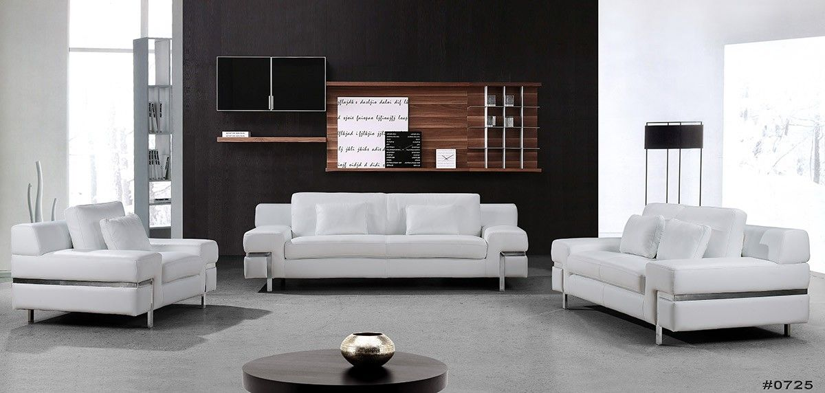 Clef Modern White Leather Sofa Set White Leather Sofa Set White Leather Sofas Modern White Leather Sofa