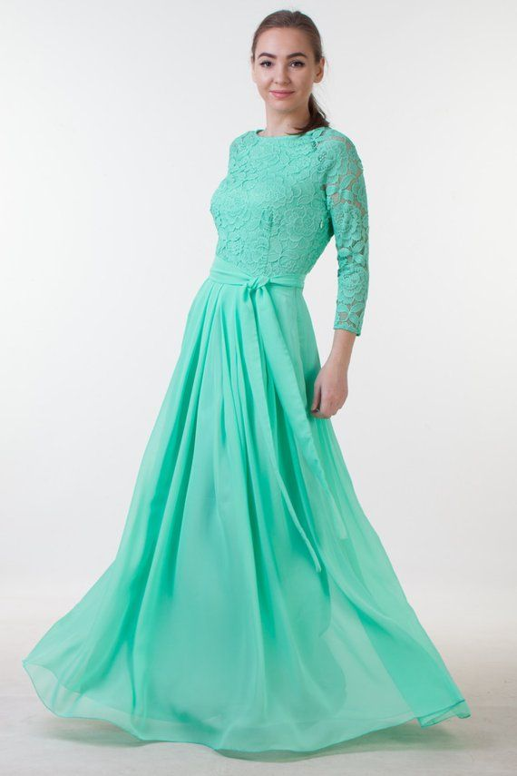 bd9342552e9 Mint green bridesmaid dress. Long green lace dress with sleeves. Mother of  the groom modest dress. M