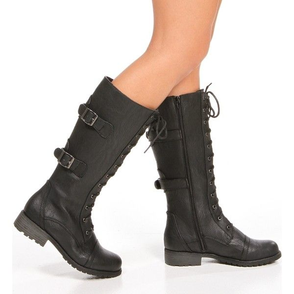 Black Tall Lace Up Combat Boots ($37) ❤ liked on Polyvore ...