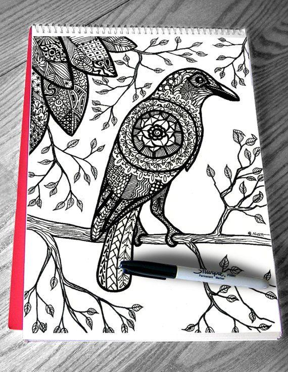 articles similaires page colorier pour adulte zentangle mandala corbeau sur etsy