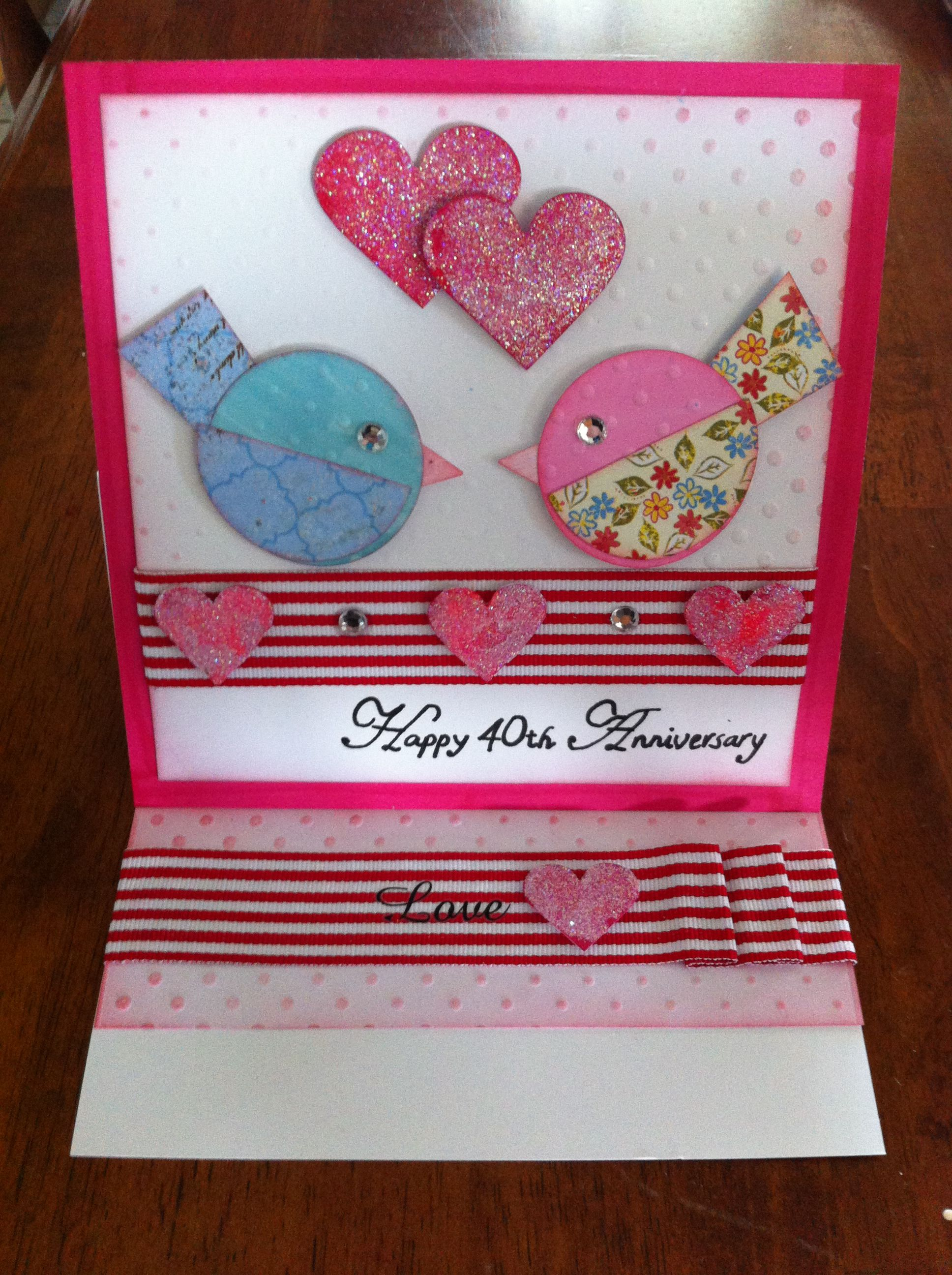 Card Making Ideas 40th Birthday Part - 33: Easel 40th Birthday Card Created Will All Current Kaszazz Products...cute  Birds Inspired