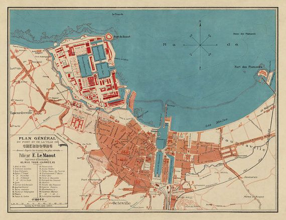 Vintage map of Cherbourg , 1856