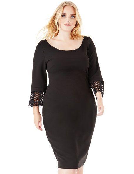 elegantes Kleid in großen Größen , schwarzes Kleid in ...