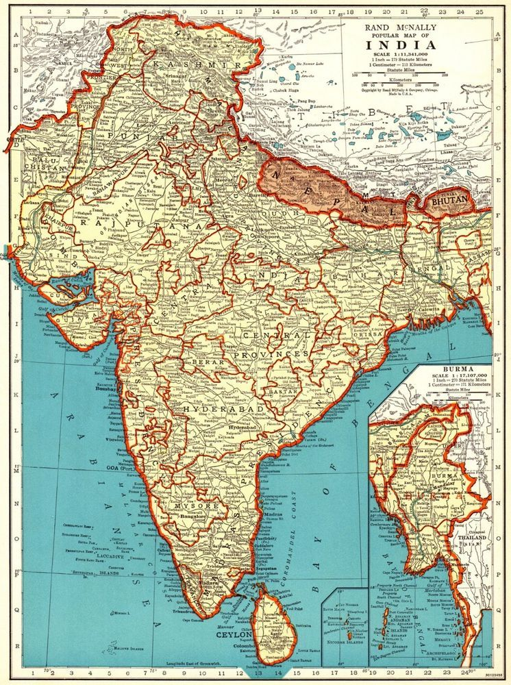 1941 Antique India Map Vintage Collectible Map Of India Gallery Wall