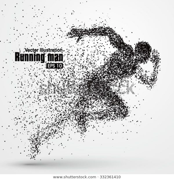 Running Man Particle Divergent Composition Vector Stock Vector (Royalty Free) 332361410