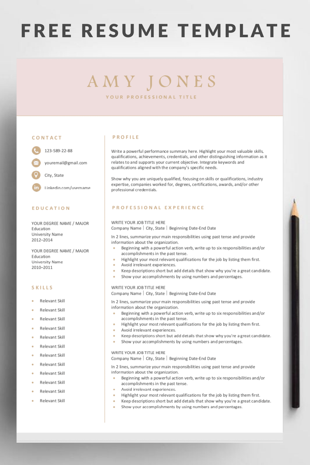 Free Resume Template in 2020 Resume template free, Free