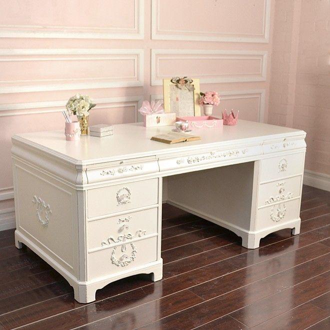 Pin By Elayne Forgie On Shabby Chic Vintage White Executive Desk White Office White Desk Office