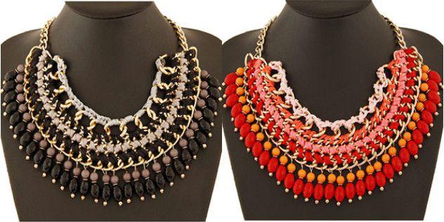 Boho Fashion Black Coffee Braided Bead Statement Bib Necklace Wholesale