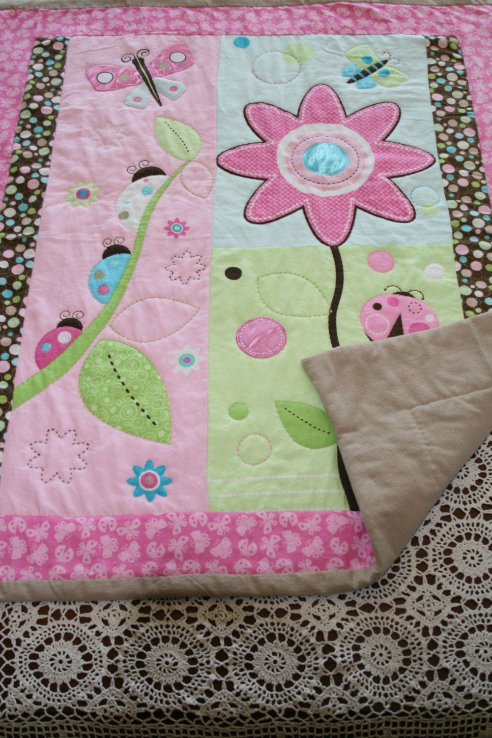 Get Ready for Spring Handmade Hand Quilted Baby Quilt Girls Throw