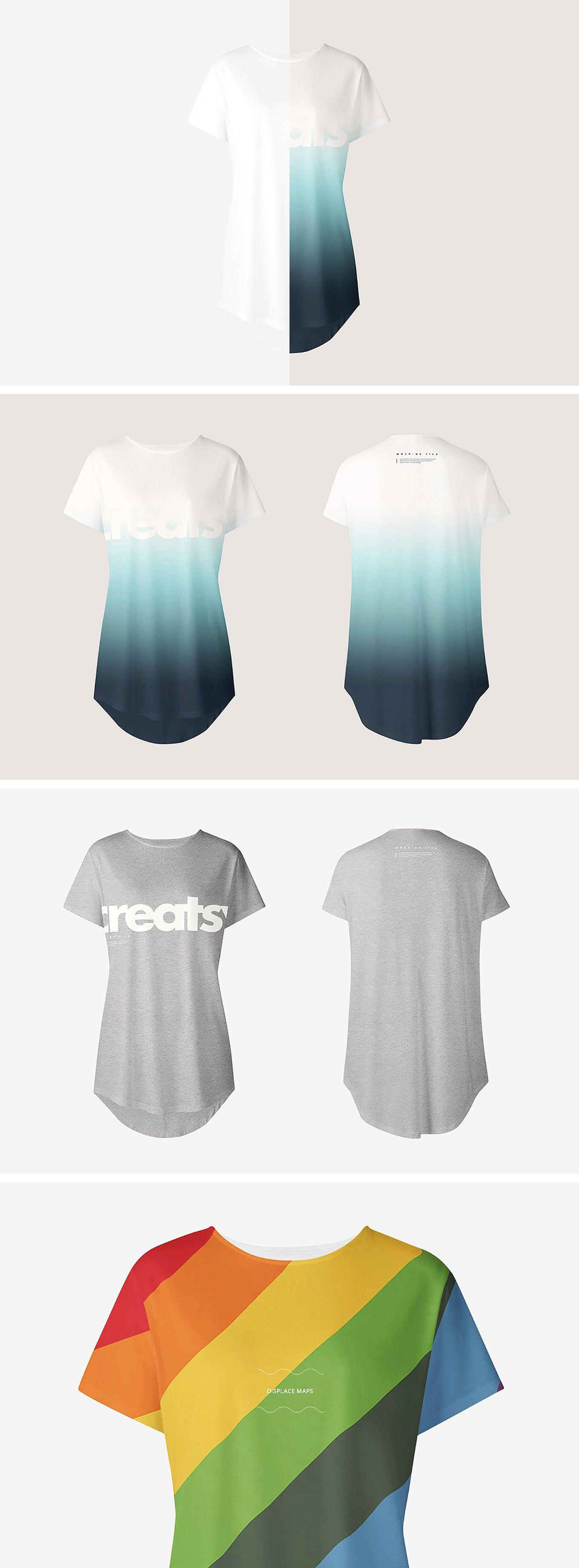 Download Women S Longline T Shirt Mockup Set Tshirt Mockup Shirt Mockup Long A Line