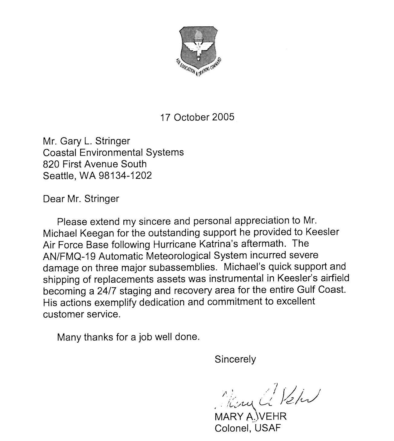 Appreciation Letter For Work Done Army Read More Good Training