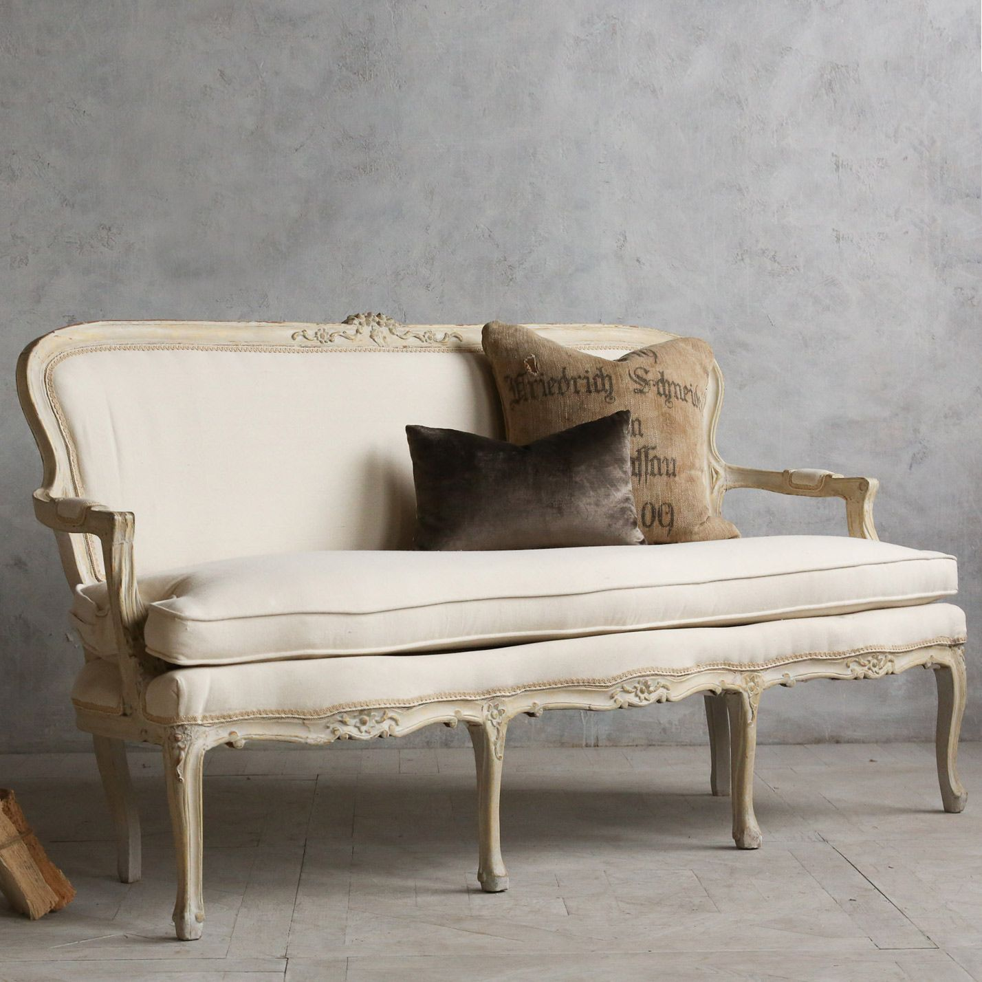 Eloquence One of a Kind Vintage Settee Louis XV Sandy Cream @Layla Grayce
