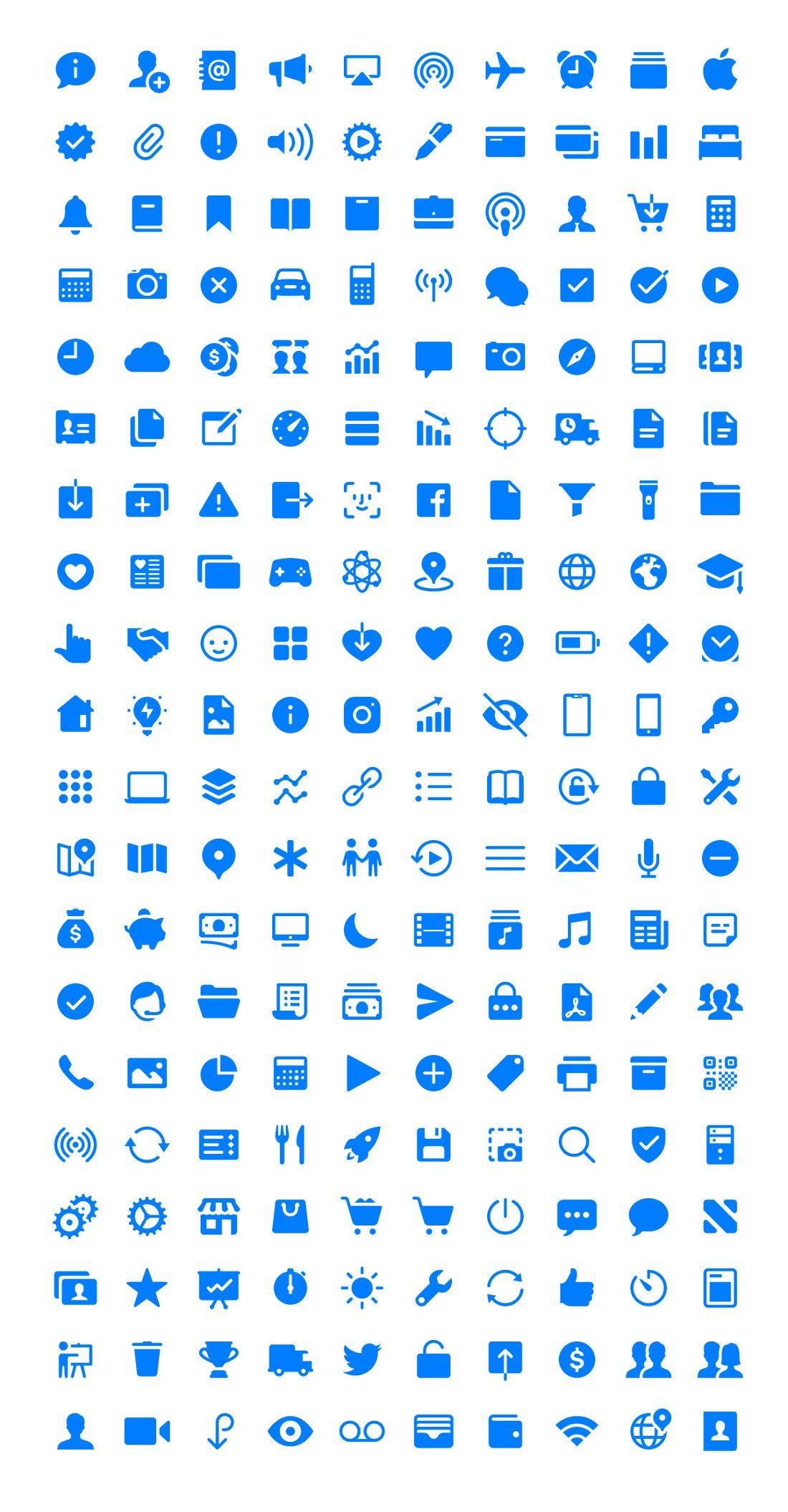 iOS 11 Glyphs (200 Icons) Glyphs, Ios 11, Icon design