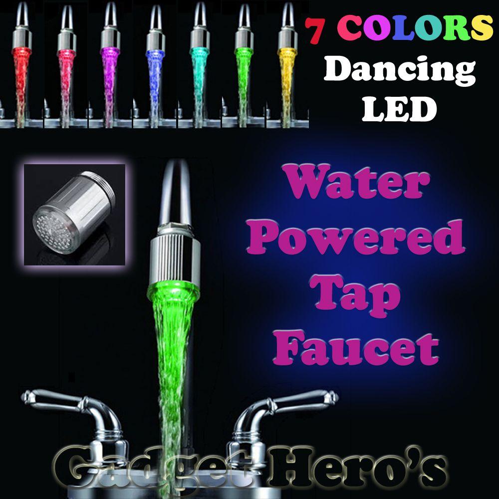 Elegante LED Wasserhahn Stream Licht 7 Farben Ändern Dusche Tap tap ...
