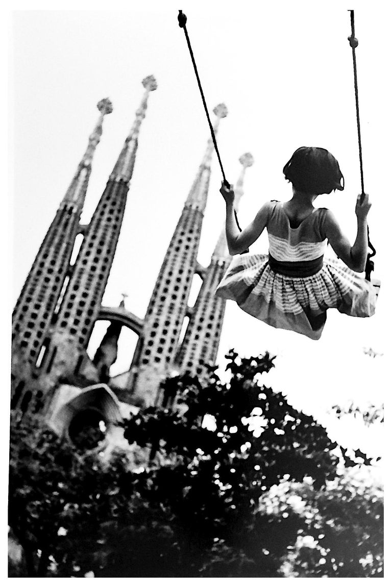 Burt Glinn Swing Black And White Portrait Photography Of Child With Gaudi Spires Barcelona White Photography Black And White Magnum Photos