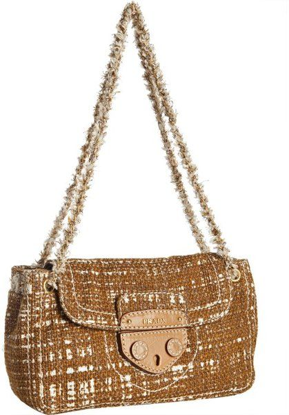 c478993bf1 Prada - Brown Tobacco Tweed Flap Front Chain Link Shoulder Bag - Lyst