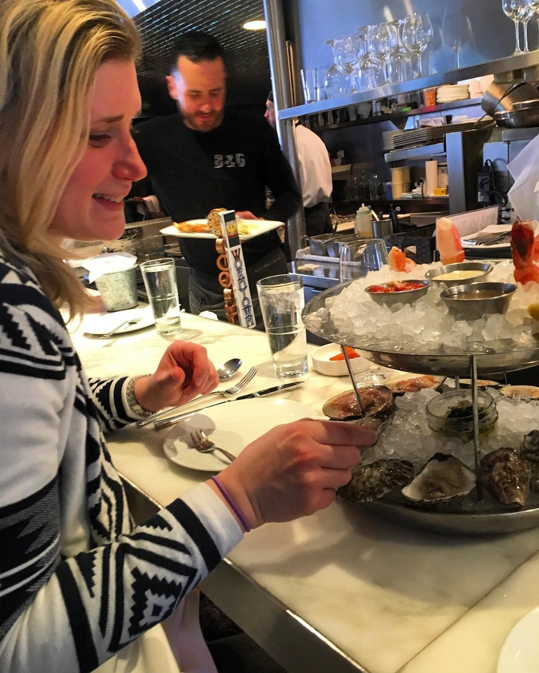 Adventures in the #tundra. #philly #blonde hanging out with #Boston #cambma #saltandpepper #indian #southindian at #southend #bandgoysters #shellfish #marthasvineyard and #katamabay #oysters #littleneck and #cherrystone #clams #snowcrab #jumboshrimp #shrimp #clamchowder #rawbar #smiles in #belowfreezing temps. by rags350 February 15 2016 at 05:50AM