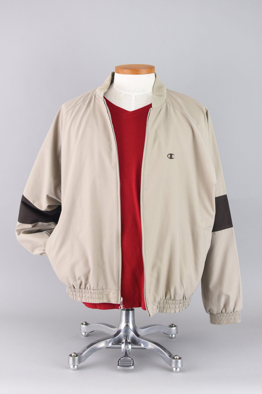 Vintage 90s Champion Windbreaker Brown Tan Streetwear Polyester Zip Up Coat Lightweight Spring Jacket Men S Large In 2020 Windbreaker Spring Jackets Jackets