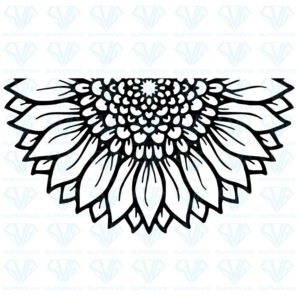 Half Mandala Sunflower SVG Files For Silhouette, Files For