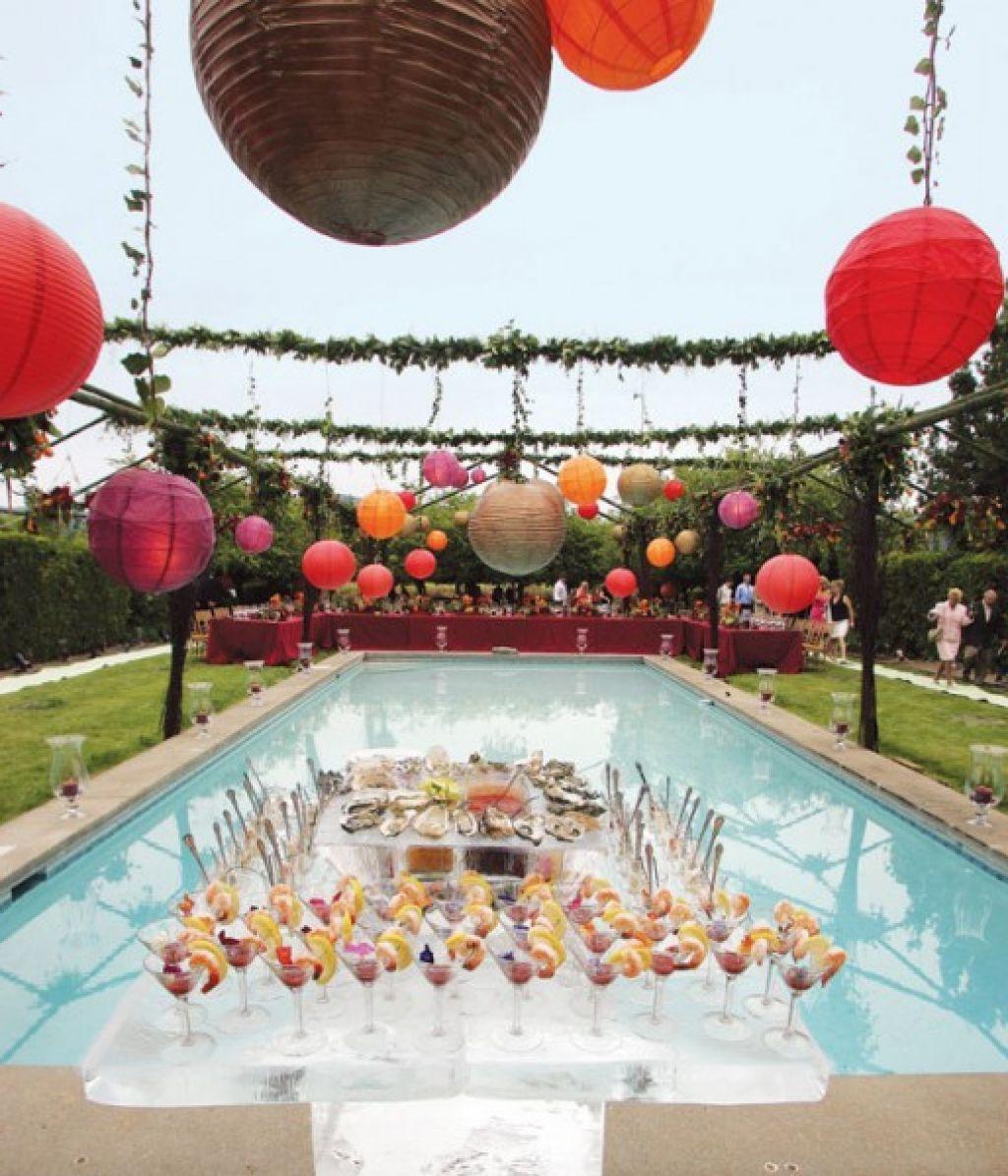 Wedding Reception Pool Party Decorating Ideas