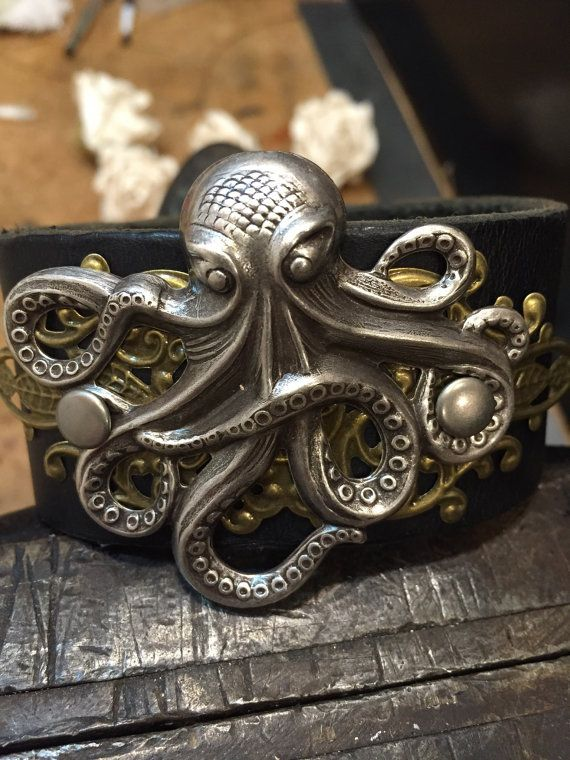 Octopus Cuff Leather Steampunk The By Asyouwishgallery Ocean Jewelry Themes