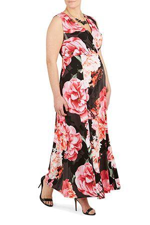 39300e1628 Ladies Pink Ann Harvey Digital Floral Jersey Maxi Dress Bonmarché ...