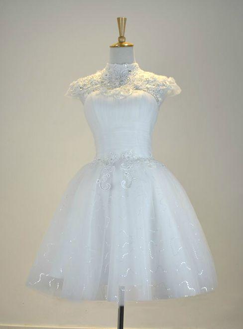 White Knee Length Cap Sleeve Tulle Short Wedding Dress | Fashion ...