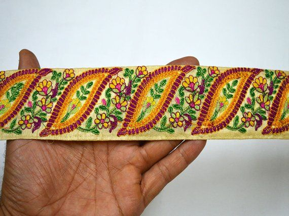 Wholesale Decorative Sari Border Embellishment Trimming Fabric Trim By 9 Yard Embroidered Saree border Sewing Crafting Costume Fashion tape #saridress