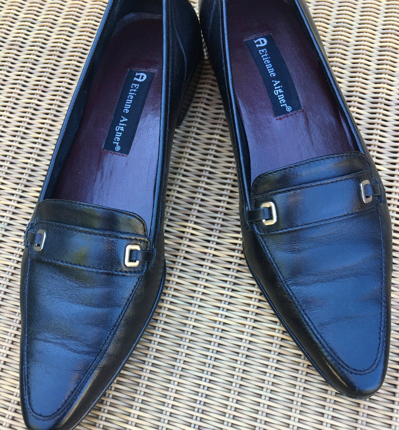 99cbaa66a2d04 Black Leather Pointed Toe Loafer Silver Buckle Accent By Etienne ...