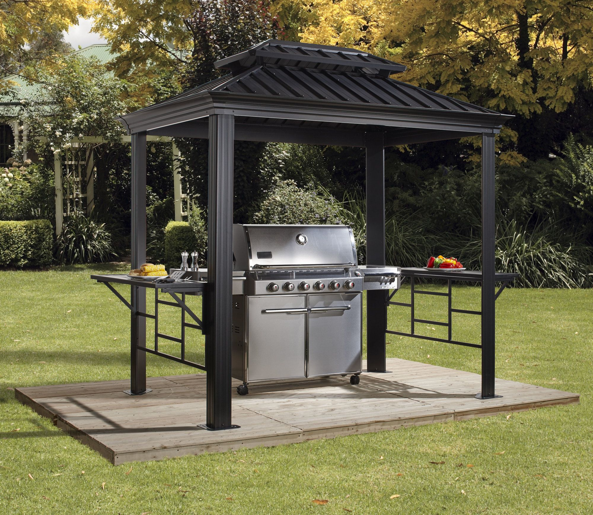Bbq Messina 6 Ft W X 8 Ft D Metal Grill Gazebo Grill Gazebo