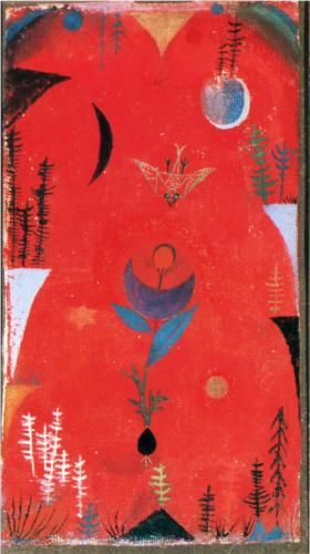 Flower myth Artist: Paul Klee Completion Date: 1918 Style: Expressionism Period: Early Works Genre: flower painting Gallery: Collection Dr. Bernhard Sprengel Tags: flowers-and-plants