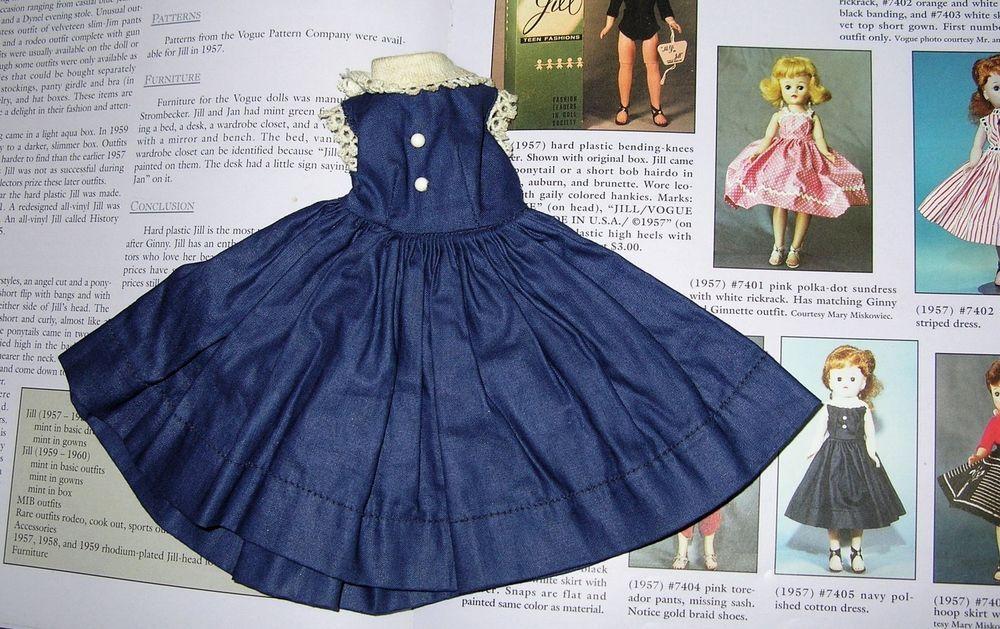 "Vintage Tagged Vogue Jill 10.5"" Doll Navy Polished Cotton Dress #7405  1957"