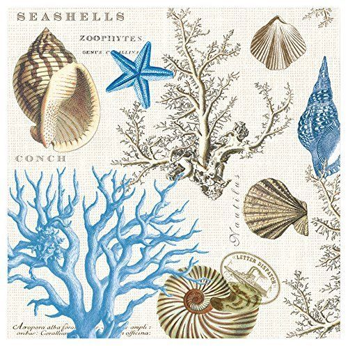 PAPER BEVERAGE NAPKINS ~ SEASHORE ~ Michel Design Works
