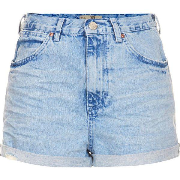 TOPSHOP MOTO Blue Rosa Hotpants (£19) ❤ liked on Polyvore featuring shorts, bottoms, short, topshop, blue, micro shorts, blue short shorts, topshop shorts, pocket shorts and cotton shorts