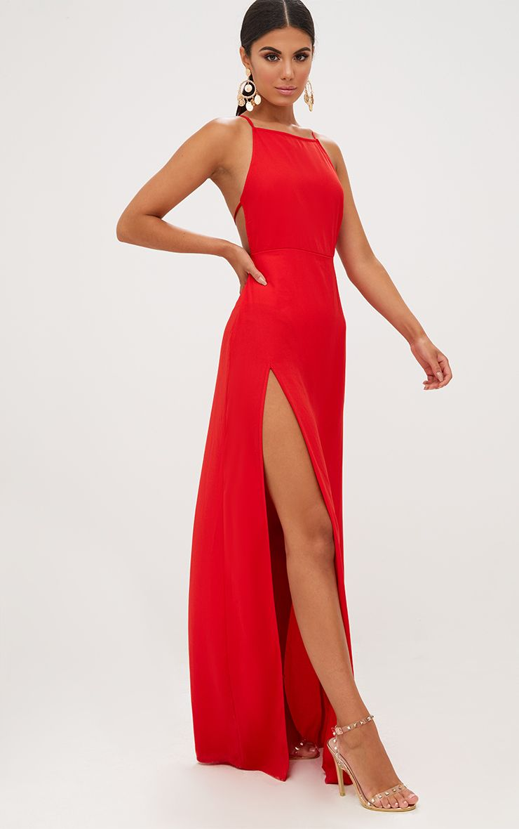 Red Strappy Back Detail Chiffon Maxi Dresswe Are Loving This Red Maxi Dress Featuring A Flowing Red Dress Maxi Red Dresses Classy Red Dress Outfit