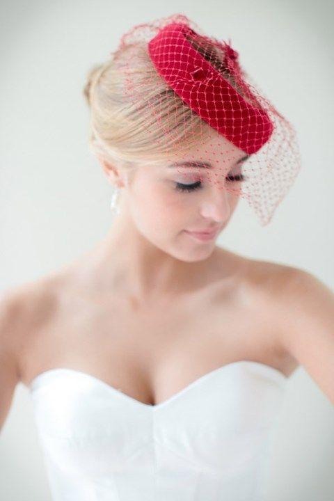 Red Birdcage Veil For A Wedding Dress