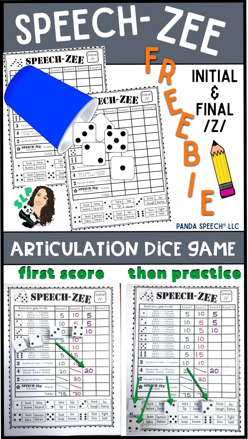 SPEECHZEE An Articulation Dice Game FREEBIE (game