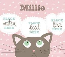 Pamper your favourite fur baby at dinner time with a personalised placemat from Little Bellies Dinnerware. Choose the background colour, the colour of your cat plus add their name. Nawwwww...