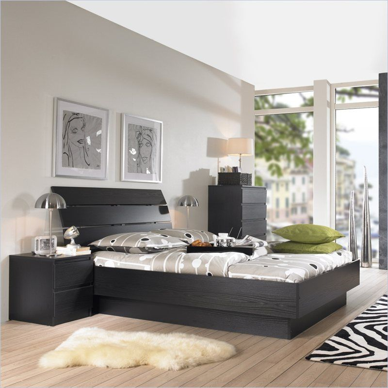Platform 3 Piece Bedroom Set in Black Woodgrain | Beautiful ...