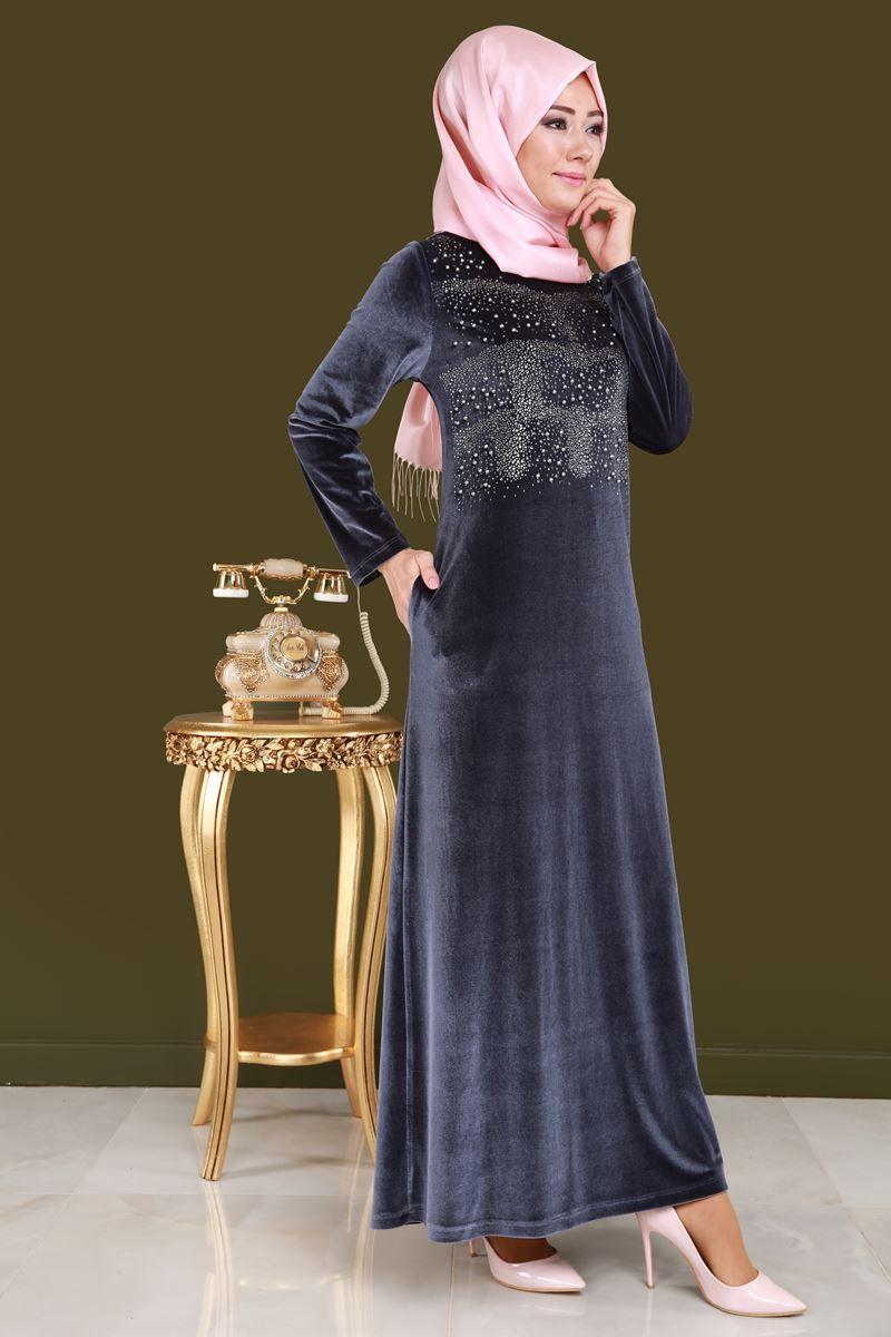 Sonbahar Kis Hiranur Inci Ve Tas Detay Kadife Elbise Gri Urun Kodu Bsf1398 1 119 90 Tl Beautiful Muslim Women Islamic Fashion Dresses