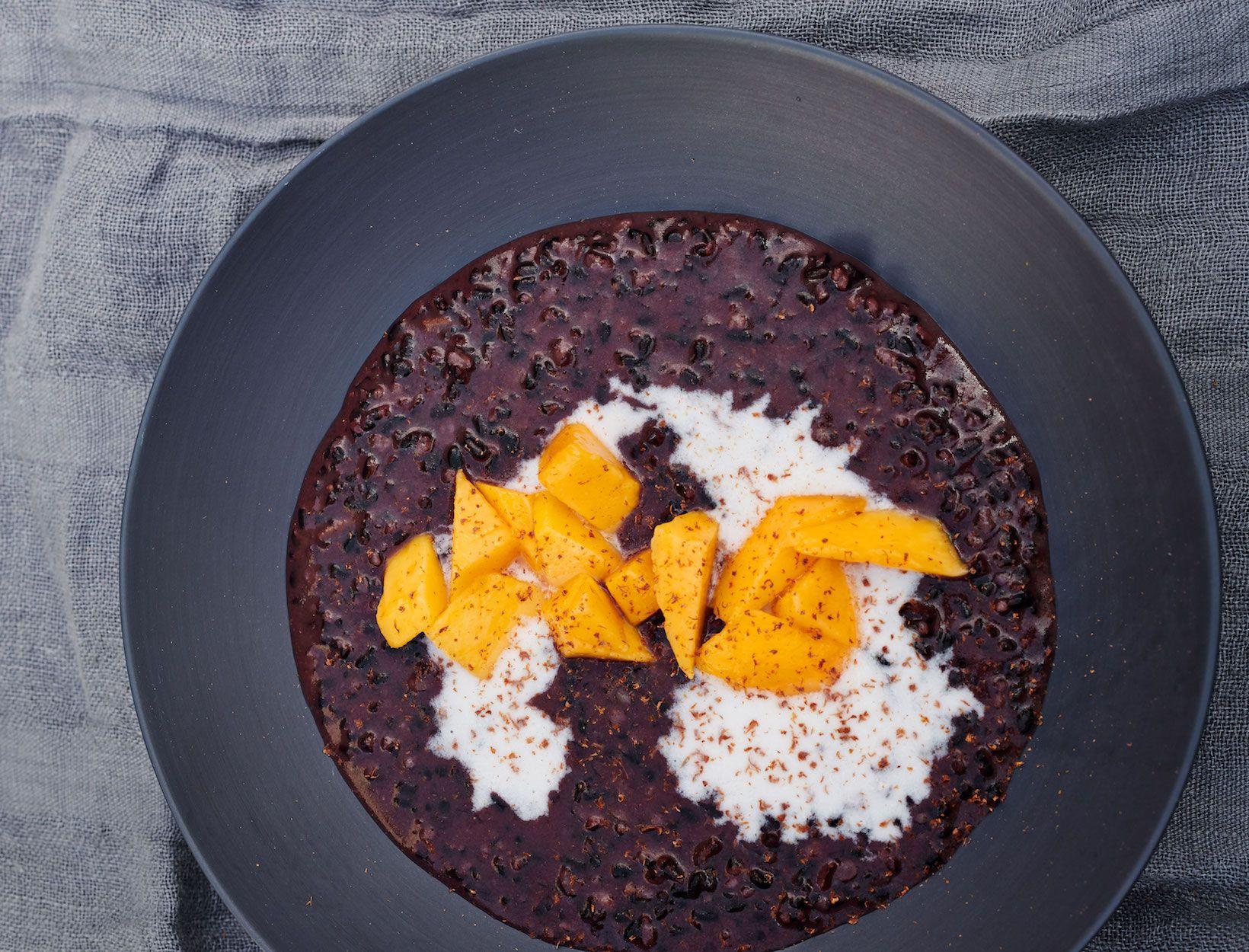Black Rice Pudding with Coconut Milk & Mango   Recipe ...