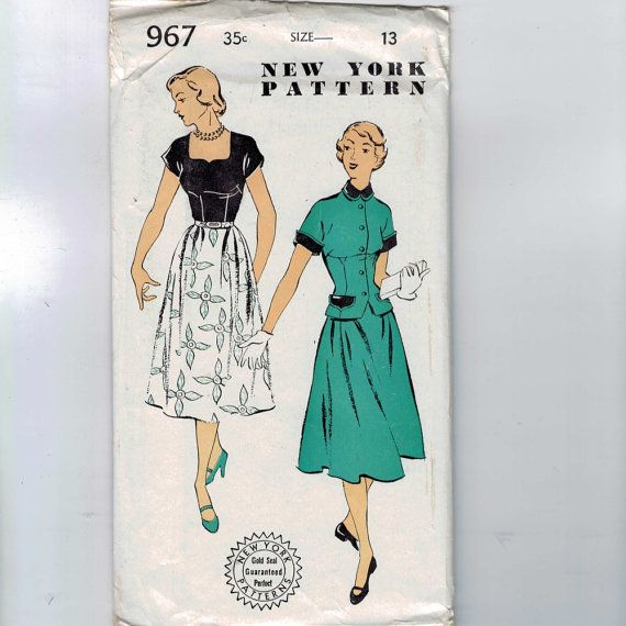 1950s Vintage Sewing Pattern New York 967 Junior Misses Dress and ...