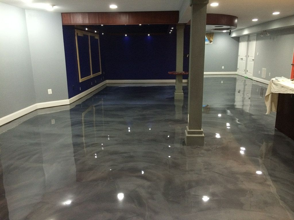 Would You Like Your Basement Floor To Look Like This Come To Exeter Paint We Will Show Metallic Epoxy Floor Epoxy Floor Basement Basement Flooring