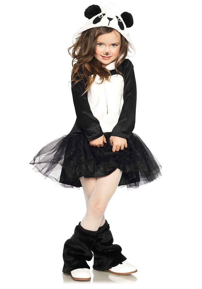 Black tulle skirt. White shirt and black jacket. Cute panda bear idea
