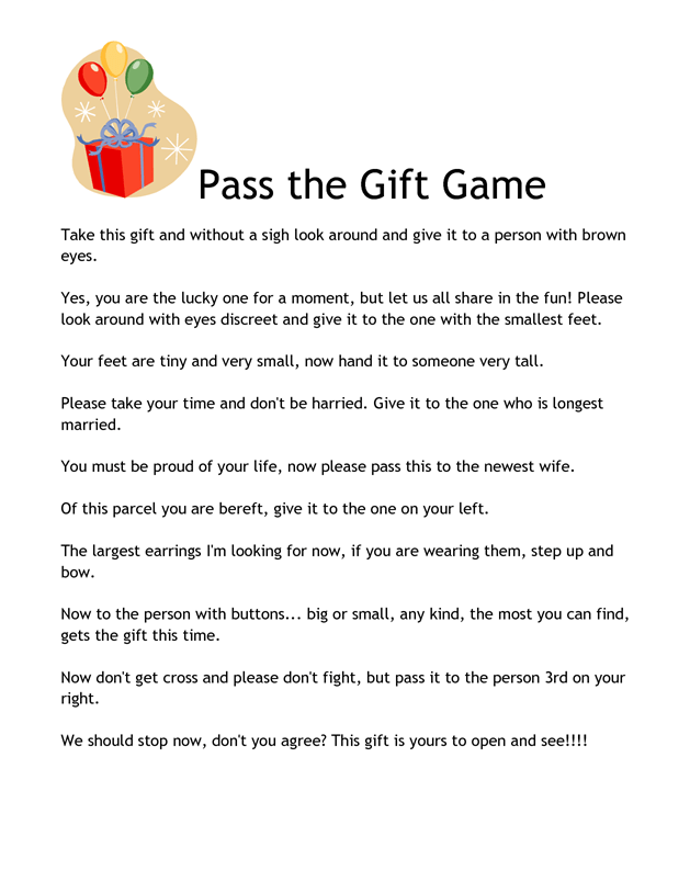 Pass the Gift Game 2.pdf | Home party games, Housewarming
